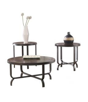 Ringwood Circular Wooden Coffee and Side Table Set - Brown